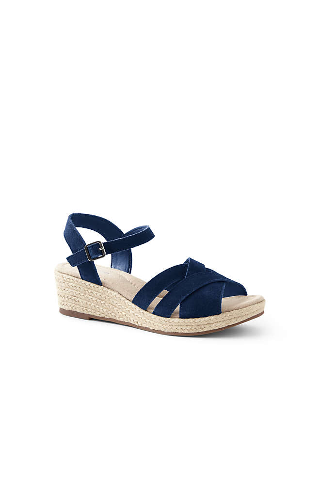 Women's Wide Criss Cross Suede Espadrille Wedge Sandals, Front