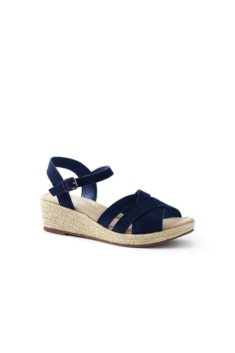 Women's Criss Cross Suede Espadrille Wedge Sandals