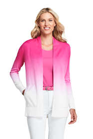 Women's Petite Cotton Open Long Cardigan Sweater - Ombre