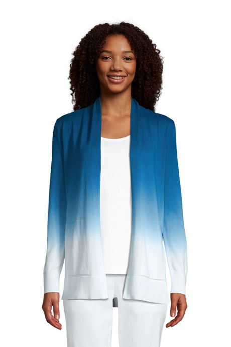 Women's Cotton Open Long Cardigan Sweater - Ombre