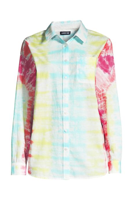 Women's Plus Size Tie Dye Boyfriend Fit Cotton Tunic Top