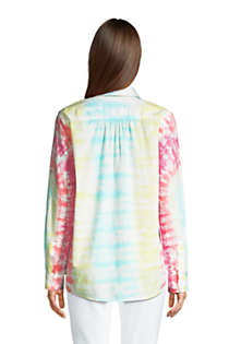 Women's Tie Dye Boyfriend Fit Cotton Tunic Top, Back