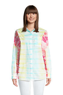 Women's Tie Dye Boyfriend Fit Cotton Tunic Top, Front
