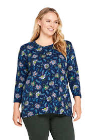 Women's Plus Size 3/4 Sleeve Print Cotton Supima Crew Neck Tunic