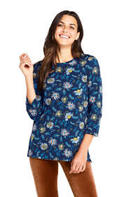 Women's 3/4 Sleeve Print Cotton Supima Crewneck Tunic