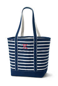Print Large Open Top Long Handle Canvas Tote Bag