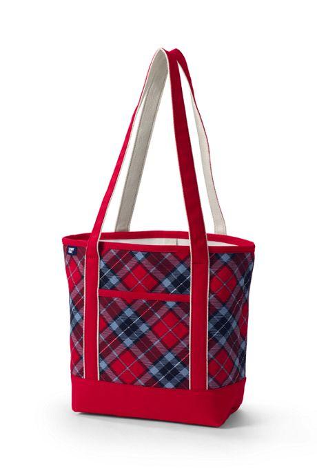 Print Open Top Long Handle Canvas Tote Bag