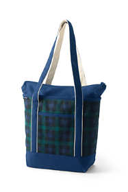 Print Medium Zip Top Long Handle Canvas Tote Bag