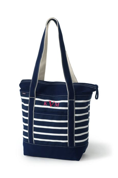 Print Zip Top Long Handle Canvas Tote Bag