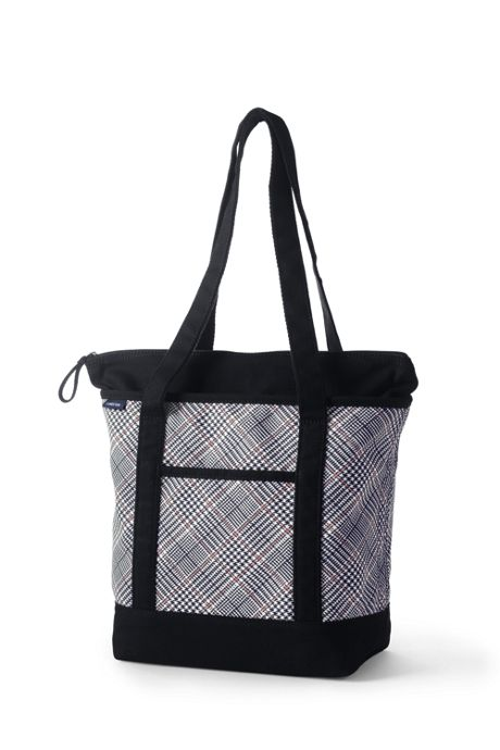 Print Medium Zip Top Long Handle Canvas Tote Bag