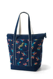 Print Large Zip Top Long Handle Canvas Tote Bag
