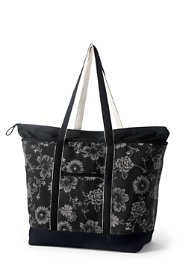 Print Extra Large Zip Top Long Handle Canvas Tote Bag