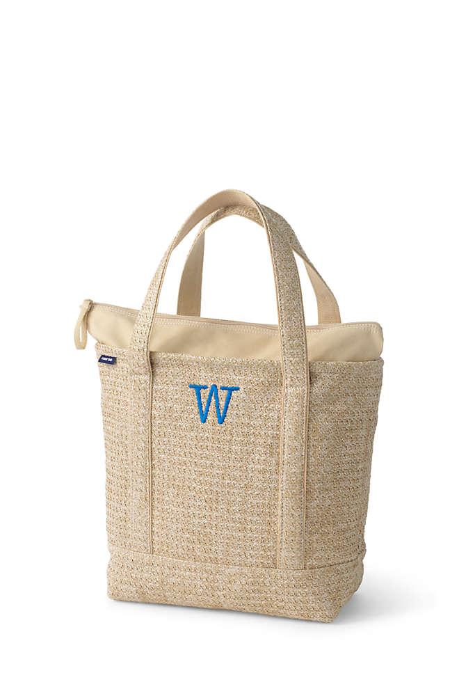 Lined Straw Medium Zip Top Tote Bag