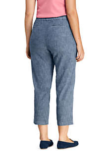 Women's Plus Size Mid Rise Chambray Pull On Crop Pants, Back