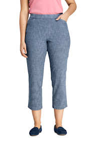 Women's Plus Size Mid Rise Chambray Pull On Crop Pants