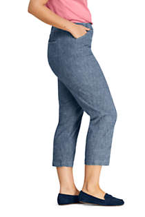 Women's Plus Size Mid Rise Chambray Pull On Crop Pants, alternative image