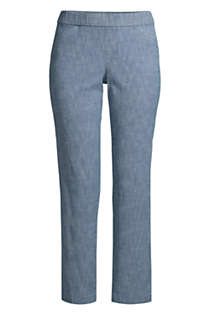 Women's Plus Size Mid Rise Chambray Pull On Crop Pants, Front