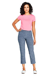 Women's Petite Mid Rise Chambray Pull On Crop Pants, alternative image