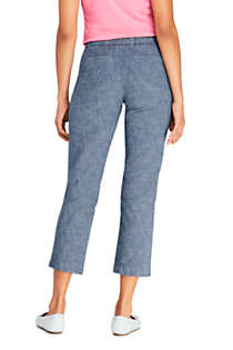 Women's Petite Mid Rise Chambray Pull On Crop Pants, Back