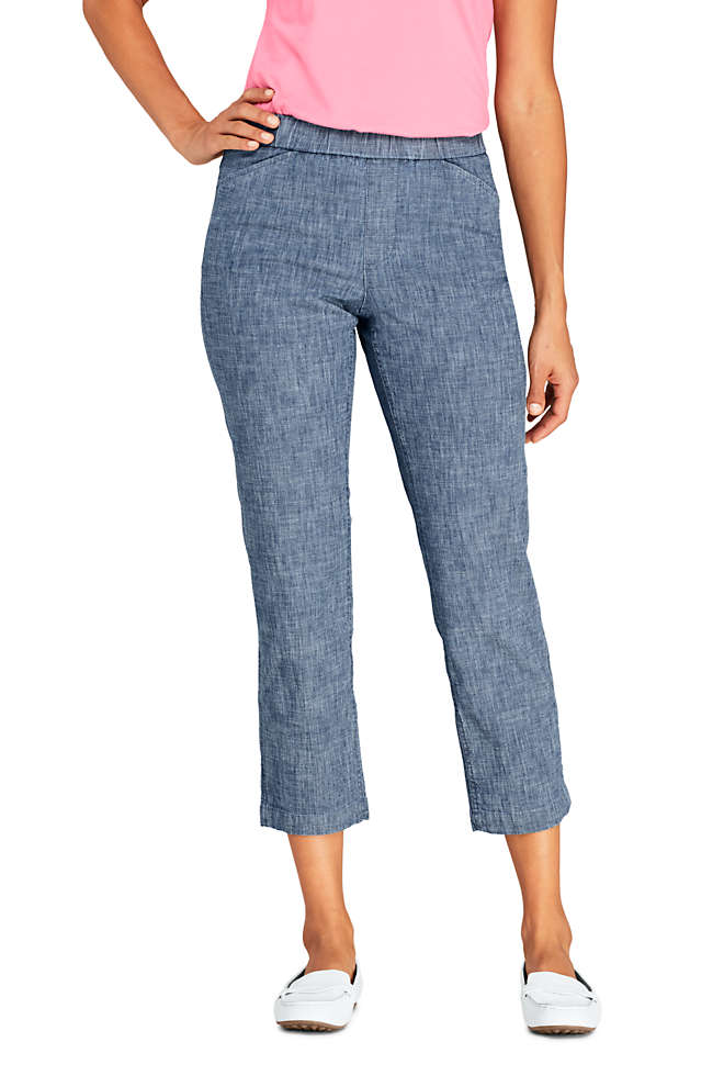 Women's Petite Mid Rise Chambray Pull On Crop Pants, Front