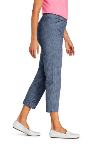 Women's Petite Mid Rise Chambray Pull On Crop Pants