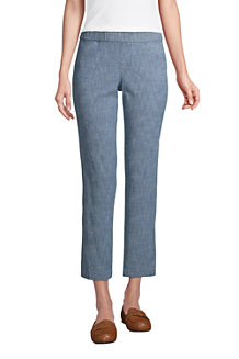 Women's Pull-on Cropped Chino Trousers, Chambray