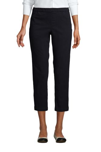 Women's Plus Mid Rise Pull-on Stretch Chino Cropped Trousers