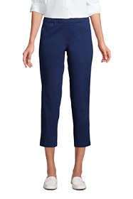 Women's Petite Mid Rise Pull On Chino Crop Pants