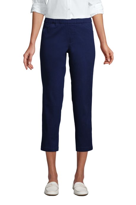 Women's Mid Rise Pull On Chino Crop Pants