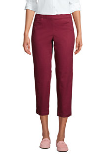 Women's Mid Rise Pull-on Stretch Chino Cropped Trousers