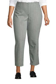 Women's Plus Size Mid Rise Pull On Chino Crop Pants