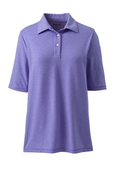 Women's Plus Size Moisture Wicking UPF Sun Elbow Sleeve Polo Shirt Stripe