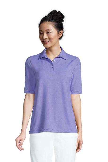 Women's Moisture Wicking UPF Sun Elbow Sleeve Polo Shirt Stripe