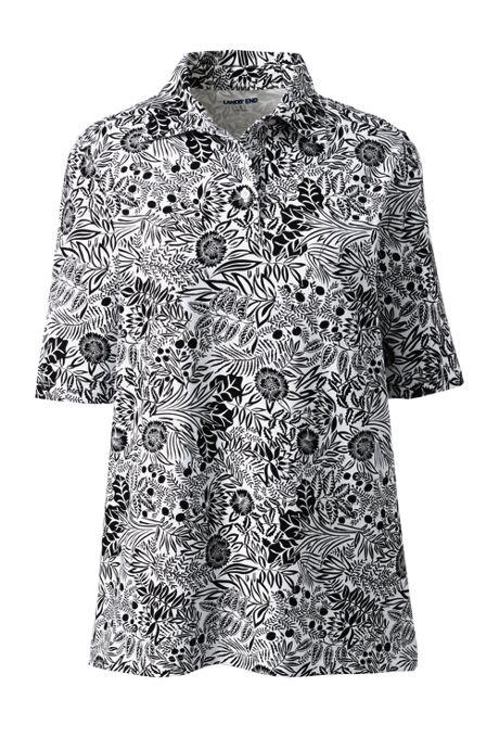 Women's Moisture Wicking UPF Sun Elbow Sleeve Polo Shirt Print