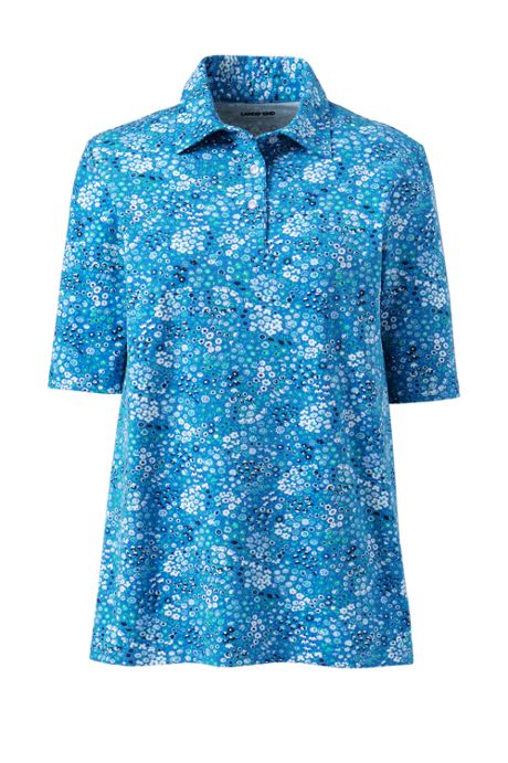 Women's Plus Size Moisture Wicking UPF Sun Elbow Sleeve Polo Shirt Print