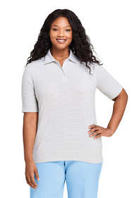 Women's Plus Size Moisture Wicking UPF Sun Elbow Sleeve Polo Shirt Stripe