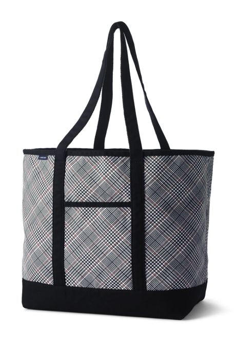 Print Extra Large Open Top Long Handle Canvas Tote Bag