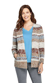 Women's Cotton Blend Open Long Cardigan Sweater - Stripe