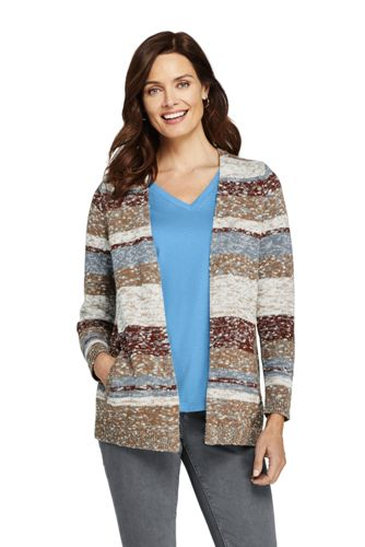 Women's Stripe Cotton Blend Long Sleeve Open Cardigan