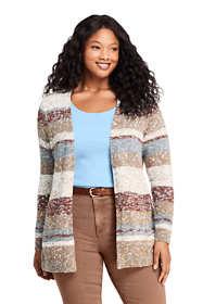 Women's Plus Size Cotton Blend Open Long Cardigan Sweater - Stripe