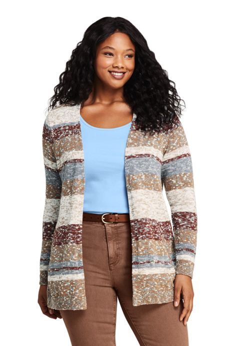 Women's Plus Size Cotton Blend Open Long Cardigan Sweater - Stripe