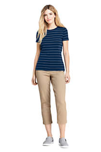 Women's Petite Mid Rise Curvy Pull On Chino Crop Pants, alternative image