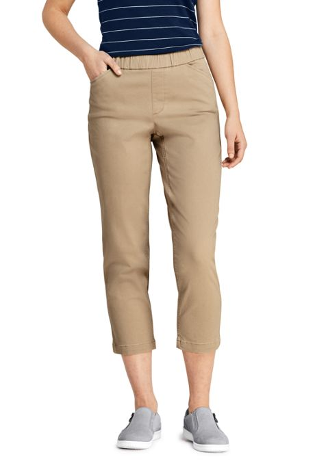 Women's Tall Mid Rise Curvy Pull On Chino Crop Pants