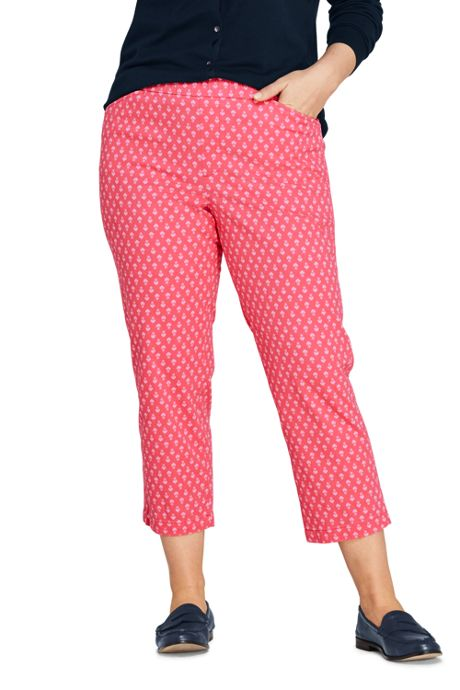 Women's Plus Size Mid Rise Pull On Print Chino Crop Pants