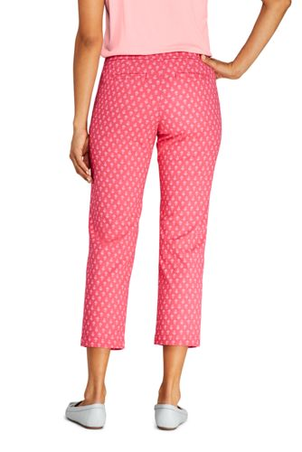 Women's Petite Mid Rise Pull On Print Chino Crop Pants