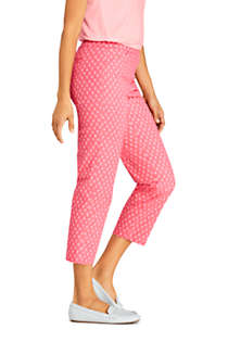 Women's Petite Mid Rise Pull On Print Chino Crop Pants, Unknown