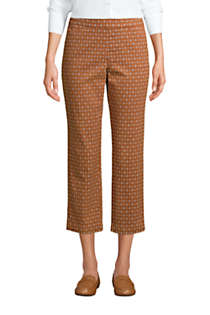 Women's Petite Mid Rise Pull On Print Chino Crop Pants, Front