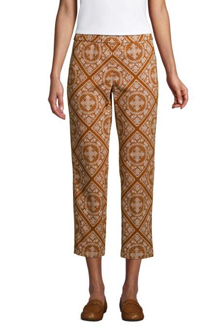Women's Petite Mid Rise Pull On Print Chino Crop Pants