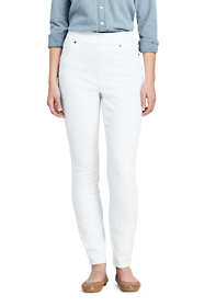 Women's Petite High Rise Curvy Pull-on Skinny White Jeans