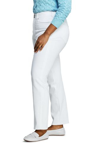 Women's Plus Size High Rise Straight Fit Shaping White Jeans